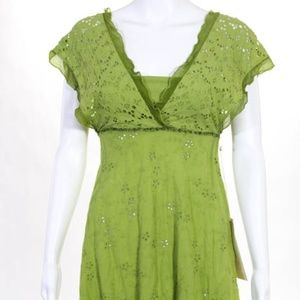 NEW Ann Ferriday Green Eyelet Cotton Dress Sz S